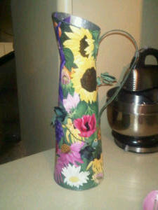 I found this jug in the metal scrap bin at Home Depot