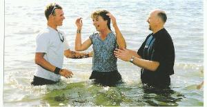 Getting baptized in English Bay Vancouver BC with my son by my side