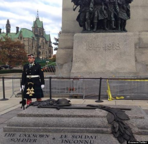 Cpl Nathan Cirillo minutes before being gunned down. The rifle at his side is for ceremonial purposes only and is not loaded.