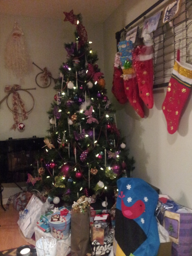 This years tree, after all the fussing and fuming with lights it ended up looking pretty good and all my fussing and worrying about money and not having gifts there were plenty of gifts under the tree.